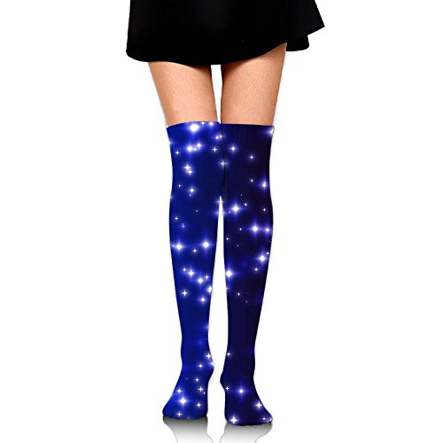 RobotDayUpUP Blue Twinkling Glowing Stars Womens Long Socks,cool Girls Skirt Stockings Knee Thigh Socks For Running Soccer Sports Dance Yoga Cheerleader Hiking Outdoor
