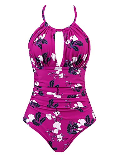 Joyaria Womens Halter Slimming One Piece Swimsuits Ruched Tummy Control Bathing Suit Monokini Swimwear (Red Floral, XL)