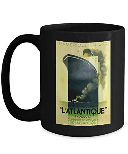 L'Atlantique Ocean Liner - Iconic Art Deco Travel Poster Design by A M Cassandre - Ceramic Coffee Mug