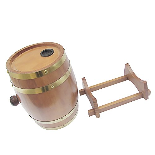 LOVIVER 1.5 L Wooden Barrels,Wine Cask, Whiskey Barrel,Rum,Cider, Beer Keg 4 Colors - Oak, as described
