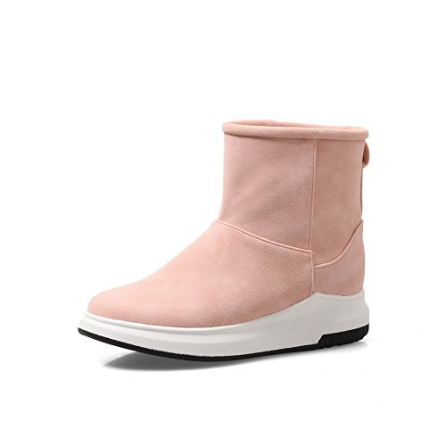 Nubuck Warm Heel Closed Snow Resistant Boots MNS02631 Not Lining Low Toe Boots Weight Pink Closure Womens Snow Urethane No Light Water Bootie 1TO9 qw68zn