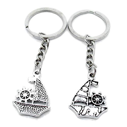 (100 PCS Antique Silver Keyrings Keychains Key Ring Chains Tags Clasps AA461 Sailboat Junk Sailing Ship)