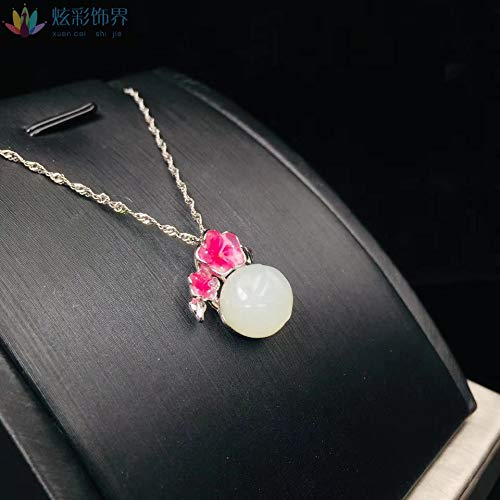 925 Silver Inlaid with Natural Hetian Jasper Teardrop Pendant Female Wearing Clavicle Necklace (Jasper Teardrop Pendant)
