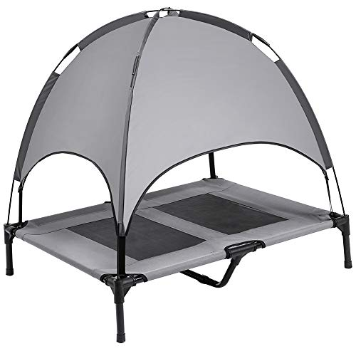 SUPERJARE Large Outdoor Dog Bed Elevated Pet Cot with Canopy | Portable for Camping or Beach | Durable Oxford Fabric - Dark Gray