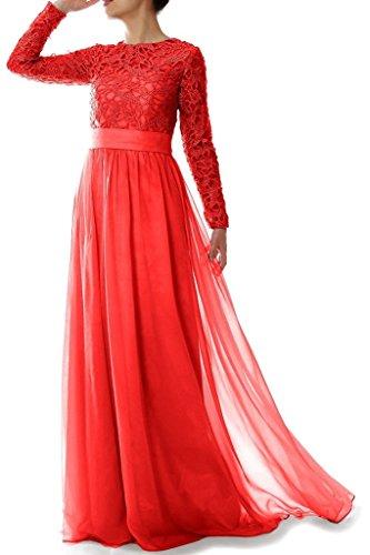 mit Mutter Linie eine Braut Spitze Rot rmeln langen HWAN Chiffon Abendkleider Kleid Frauen der THIq8gx4