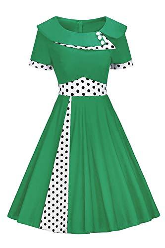 (ROSE IN THE BOX Women's Short Sleeve O-Neck Rockabilly Wear to Work Dress,Size 2XL Green)