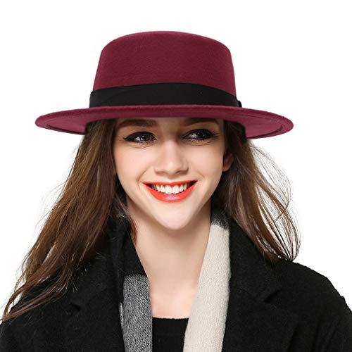 (BOGIWELL Women's Classic Wool Felt Pork Pie Hat Flat Top Church Fedora Hat)
