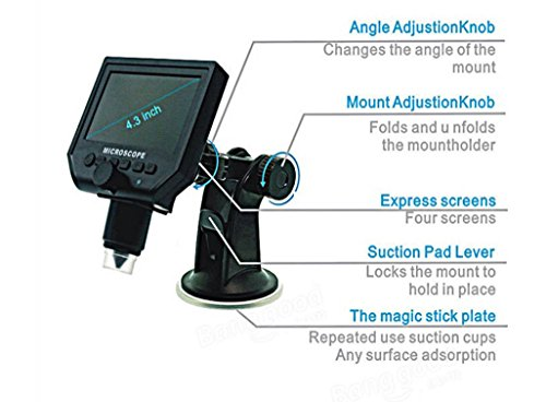 Mustool G600 Digital Portable 1-600X 3.6MP Microscope Continuous Magnifier with 4.3inch HD LCD Display by Mustool® (Image #7)