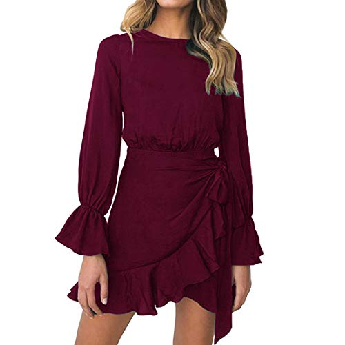 (Womens Long Sleeve Round Neck Ruffles Wrap Dresses Party Dress (Wine Red, L))