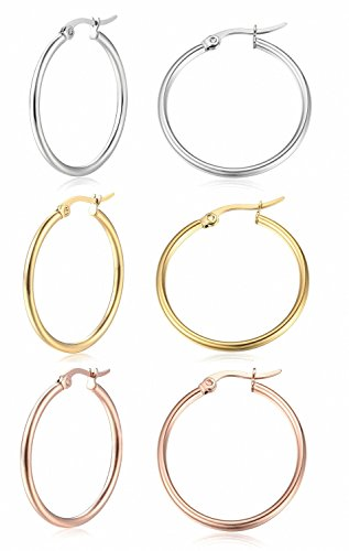 Sobly Jewelry Women's Surgical Stainless Steel Round Cute Small Charm Hoop Earrings 4 Pairs a Set (3 Pairs X 20MM)
