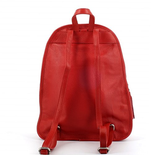 With Zipper Moretti Tassels Laura Leather Bag Red UHZxq