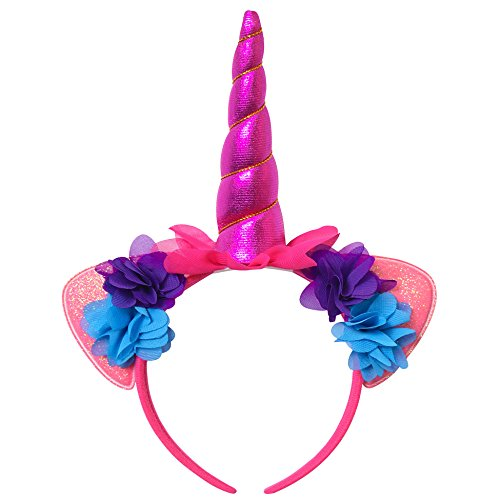 Jxstar Girls Hairband Unicorn Headband Flowers Bling Cat Ear Head Band Rose Red