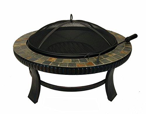Lizh Metalwork Inch Heavy Duty Natural Slate Top Fire Pit Table - 30 inch fire pit table