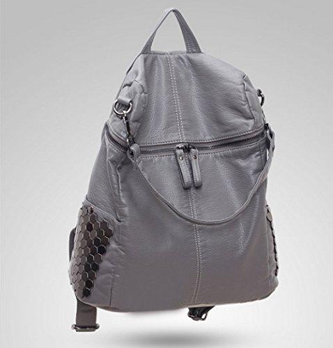 Ladies Kyoiyro Dos Daypack Ppersonality Pour Grey Rivets Zipper Pu Filles Les À Sacs Sac Bandoulière Ewx4Uzrqw