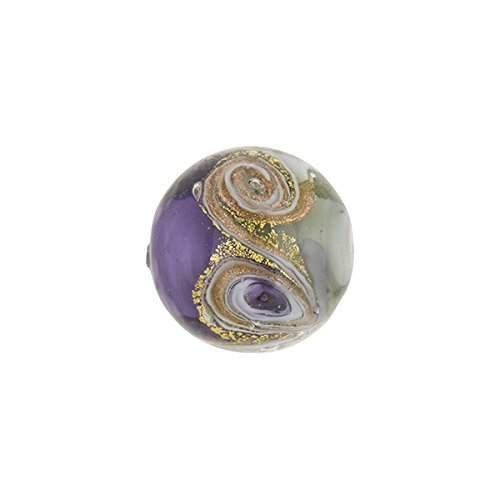 (Plum with Aventurina and 24kt Gold Foil Mare Round 14mm Murano Glass Bead Handmade Lampwork)