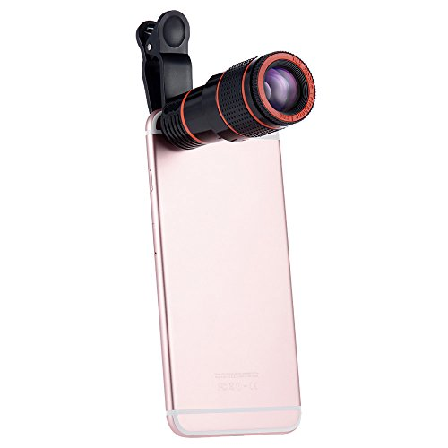 Smartphone Camera Lens,12X Universal Optical Zoom Lens Manual Focus Telescope Camera Lens with Universal Clip for Iphone 6s/6/6 Plus/6s Plus / 5s,and More (12X) (single)