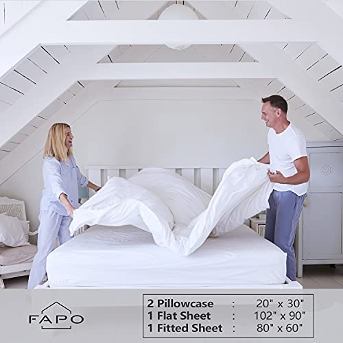 King Bed Sheet Set, 16-inch Deep Pocket Sheet, 4 Piece Hotel Luxury Soft Bedding Sheets, White, 1800 Thread Count Brushed Microfiber Sheet, Breathable Stay Cool Sheets, Resistant Fade Wrinkle.