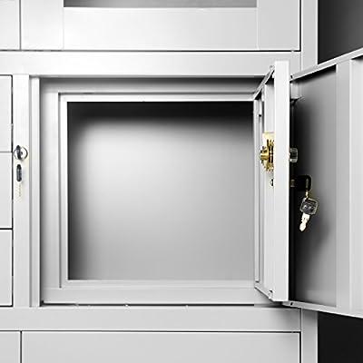 Archivador C18S, mueble de oficina con caja de seguridad, puertas abatibles de vidrio 185 cm x 90 cm x 40 cm (gris/gris): Amazon.es: Hogar