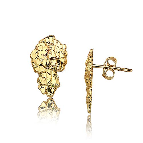 LOVEBLING 10K Yellow Gold Nugget Earrings (0.64
