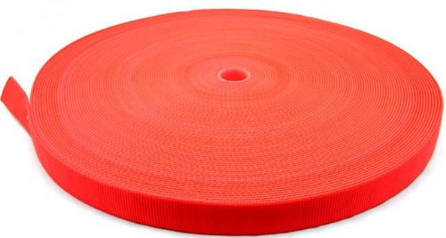 Country Brook Design 1 Inch Safety Orange Tubular Nylon Webbing, 50 Yards ()