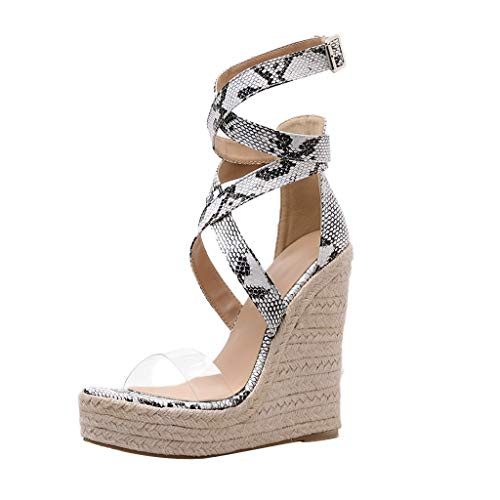 Pumps Shoes Women,Kansopa Wedge Pumps High Block Heel 14cm Peep Toe Cross Ankle Buckle Snakeskin Pattern Sexy Sandals White
