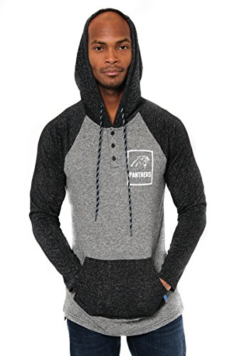 ICER Brands Adult Men Fleece Hoodie Pullover Sweatshirt Henley, Team Color, Black, Large