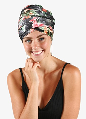 Pretty Simple Luxury Turban Floral Velvet Head Wrap Extra Long Scarf Tie, Gray by Pretty PS Simple (Image #2)