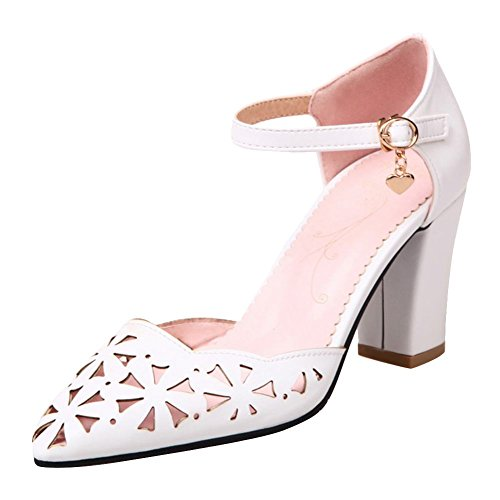 Mee Shoes Women's Fashion High Heel Buckle Ankle Strap Pointed Toe Court Shoes White aRiaeAe