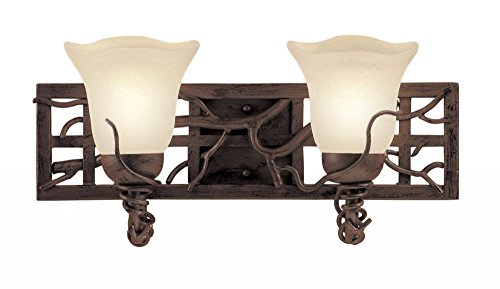 - Kalco 3562BA/NS11 Vanity Lights with Iridescent Shell Glass Shades, Bark Finish
