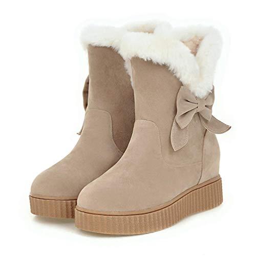 JOYBI Womens Winter Platform Ankle Boots Faux Suede Bowtie Warm Fur Lined Comfortable Slip On Snow Boot