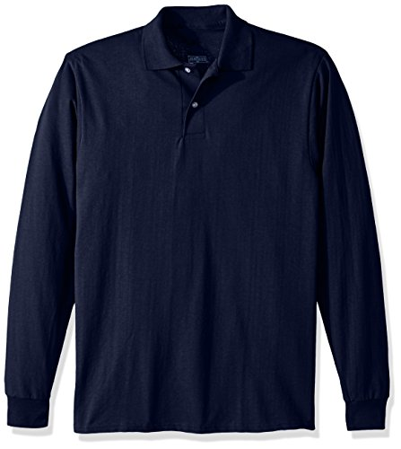 Jerzees Men's Spot Shield Long Sleeve Polo Sport Shirt, Jnavy, Large (Jersey Long Sleeve Polo Shirt)