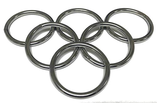 Multi-Pack of 2.5 Inch Heavy Duty Stainless Steel Welded Rings, Pack of 6, Great for Making Bags, Halters, Breast Collars, Tack and Marine Projects