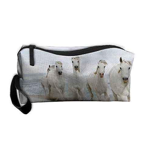 Seashore One Handle - White Horse Running On Seashore Pattern Makeup Bag Calico Girl Women Travel Portable Cosmetic Bag Sewing Kit Stationery Bags Feature Storage Pouch Bag Multi-function Bag
