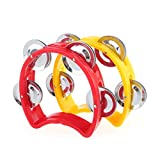 Musiclily Plastic Handheld Tambourine Percussion Jingles Musical Instrument for Kids and Adults, Red/Yellow(Pack of 10)