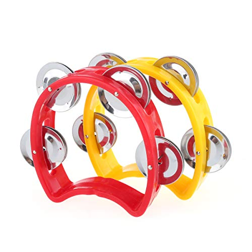 Musiclily Plastic Handheld Tambourine Percussion Jingles Musical Instrument for Kids and Adults, Red/Yellow(Pack of 2)