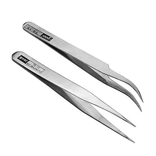 OULII 2pcs Precision Stainless Steel Rhinestones Eyelashes Nail Art Straight Curved Nippers Tweezers Picking (Curved Rhinestone)