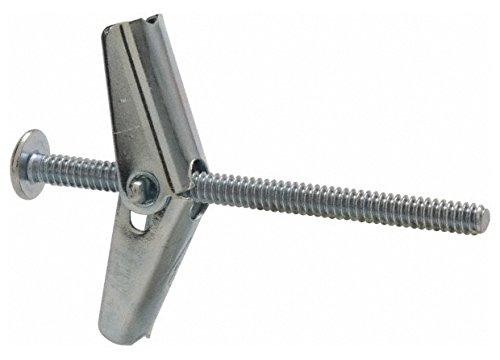 1/8'' Screw, 1/8'' Diam, 2'' Long, Toggle Bolt Drywall & Hollow Wall Anchor 3/8'' Drill, Zinc Plated, Steel, Grade Zamac 7, Use in Drywall & Wallboard