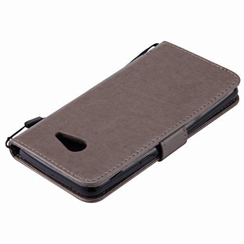 Yiizy Samsung Galaxy J5 (2017) Custodia Cover, Alberi Disegno Design Sottile Flip Portafoglio PU Pelle Cuoio Copertura Shell Case Slot Schede Cavalletto Stile Libro Bumper Protettivo Borsa (Grigio)