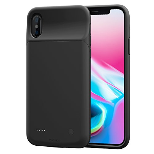 iPhone X Battery Case, ZeeHoo 3200mAh Slim Charging Case for iPhone X / iPhone 10 (5.8-inch) Protective Charger Case Extended Battery Pack【Compatiable with Lightning Headphones】-(Black)