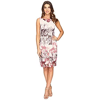 Adrianna Papell Women's Rose Print Sleeveless Sheath Dress at Women's Clothing store