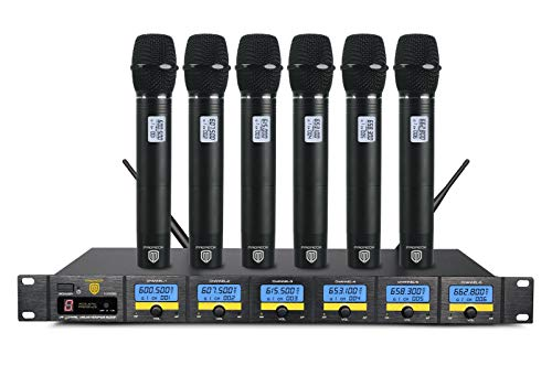 PRORECK MX66 6-Channel UHF Wireless Microphone System with 6 Hand-held Microphones Karaoke Machine for Party/Wedding/Church/Conference/Speech (New frequency) by PRORECK (Image #7)