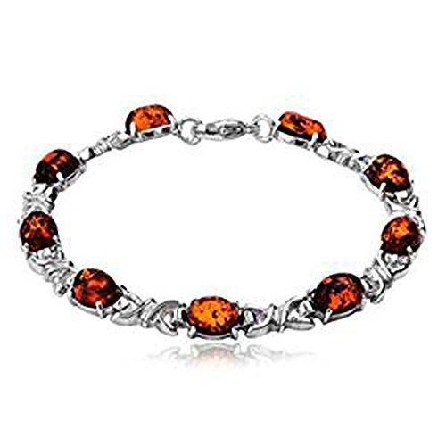 Ian and Valeri Co. Baltic Amber Sterling Silver Celtic Bracelet - Bracelet Honey Silver Amber Sterling