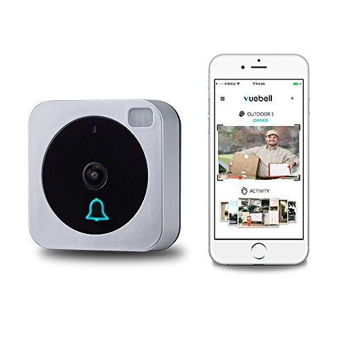 Wireless Wifi Video Doorbell, Doorbell Camera, Vuebell, with HD720p Cam, Two-Way Audio, IP53 Waterproof, Smart Motion Detetion, Infrared Night Vision AC 8-24V DC 9-36V(Hard Wire Version)
