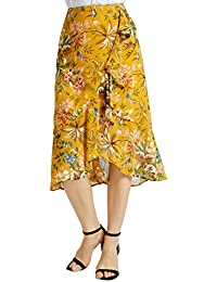 Womens A Line Floral Print Midi Skirt with Ruffle on The...