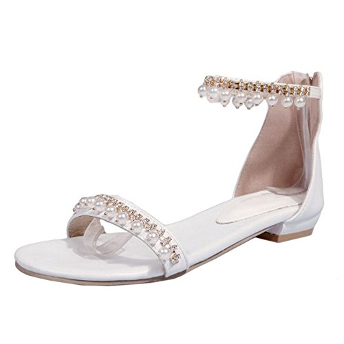 COOLCEPT Damen Simple Niedrige Sandalen Schuhe Zipper White