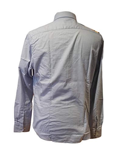 FRED PERRY camicia super slim fit, bianco quadretti azzurri , tg. XL
