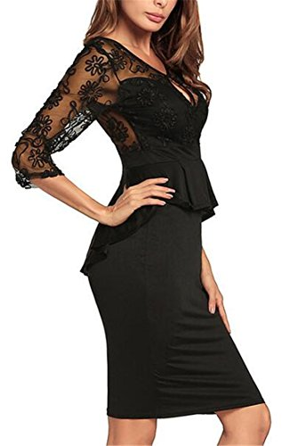 Sexy Women Peplum Lace 4 Backless Fit Slim Black 3 Dress Sleeve Jaycargogo HaqO5wq