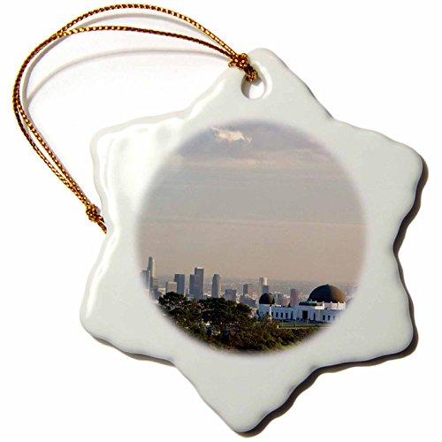 3dRose orn_88658_1 CA, Los Angeles, Griffith Park Observatory US05 WBI0555 Walter Bibikow Snowflake Porcelain Ornament, ()