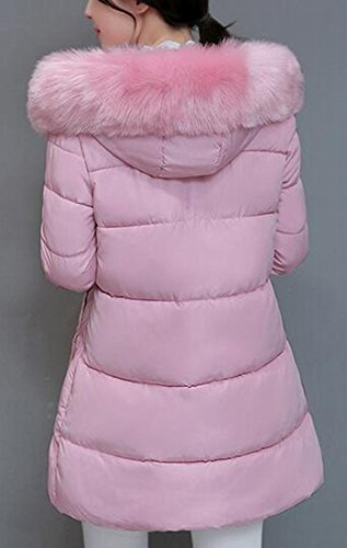 Low Down Womens Faux Fur UK Puffer High Hem Jacket Solid Pink Hooded today qSw0tvw5