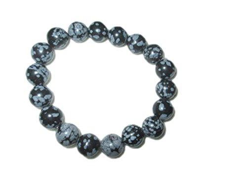 Snowflake Obsidian Stretch Bracelet Natural